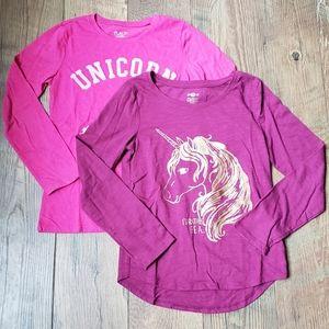2 unicorn girls long sleeve shirts Size 10